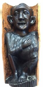 """UNUSUAL CARVED 15"""" HIGH EBONY? AFRICAN FIGURE OLD HEAVY"""