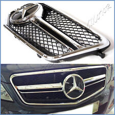 Fit 10-13 W212 Benz E350 E550 E63 AMG Look Gloss Black Fence Front Grille 1 Set