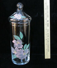 Glass Canister Hand Painted Floral Design w/ Lid Cover Pink Green Apothecary