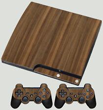 Noyer Finition Bois PLAYSTATION PS3 SLIM AUTOCOLLANT PEAU & 2 Pad Skins aucun Texturé