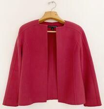 LINDA ALLARD-ELLEN TRACY Women 100% Wool Open Front Jacket 6 Pink Square Collar