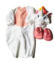 Suit Yourself Jumpsuit Unicorn Bebe Girl 6-12 Months 4 Pieces Colors White Pink