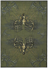 "Southwestern Smoke Blue Deer Carpet 3x8 Antlers Area Rug : Actual 2' 7"" x 7' 6"""