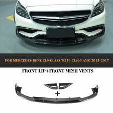 Carbon Fiber Front  Lip And Mesh Vents Black Fit for Benz W218 CLS63 AMG 15-17