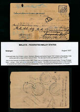 MALAYA 1937 PRINTED ENVELOPE FOREIGN POSTAGE DUE BOXED + KTL TRIANGLE