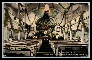 PORTSMOUTH NEW HAMPSHIRE INTERIOR OF ST JOHN'S EPISCOPAL CHURCH POSTCARD A31