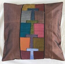 Pair of ''MODE - Brown' Cushion Covers, 100% Thai Silk
