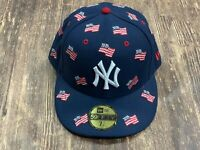New York Yankees 4th of July American Flags Blue MLB Baseball Hat New Era 7 1/4