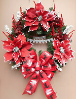 """22"""" Merry Christmas Banner Holiday Red Poinsettia Pine Wreath"""