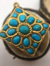 Victoriano Antiguo Colgante De Oro Amarillo 22 CT Esmalte Turquesa Diseñador Inusual
