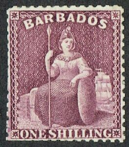 Barbados 1875-81 SG81 1/- Purple Good Mounted Mint Large Part O/G Cat. £170.00