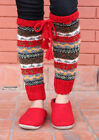 Bright Red Border Multicolor Woolen Legwarmers with Knitted Lace