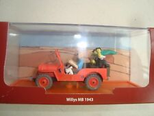 MINIATURE 1/43 LA JEEP WILLIS ROUGE MB 1943 TINTIN AU PAYS DE L'OR NOIR