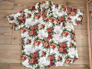 vintage hibiscus Hawaiian ladies shirt blouse  tropical holiday large 16/18/20