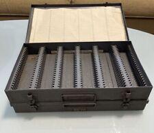 Set of 2 Brumberger Metal Slide Cases, index cards, 35mm 150 each Model 1150