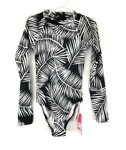 Seafolly, Girl's Black White Long Sleeve One Piece Swimsuit, Size 6