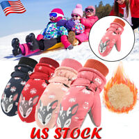Kids Boys Girls Winter Warm Ski Gloves Child Non-slip Snow Mittens Skiing Gloves