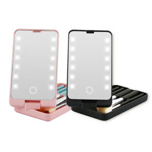 Cosmetic Makeup LED Mirror Travel Compact Pocket +Brushes UK Seller