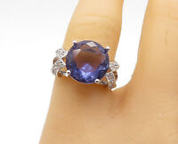 925 Sterling Silver - Tanzanite Topaz Accented Cocktail Ring Sz 7.5 - R15328