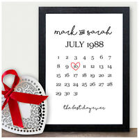 Personalised 1st 2nd 10th Wedding Anniversary Gifts Ten Years Wedding Date Gifts
