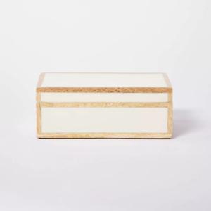 "NWT Studio McGee X Threshold 10"" x 6.5"" Wood Trim Resin Inlay Decorative Box"