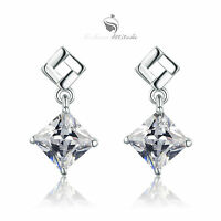 18ct white gold GF made with princess cut swarovski crystal stud earrings