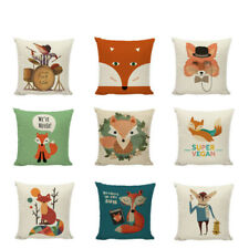 Lovely Cartoon Foxes Pillow Case Cover Cute Geometric Cotton Printed Home Decor