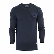 Mens Jumper Crosshatch Barrowell Cotton Crew Neck Knitted Sweater Navy Blazer X Large