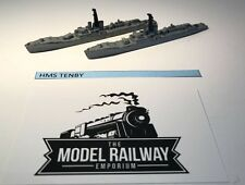 VINTAGE TRIANG MINIC SHIPS - M794 - HMS TENBY X 2 - RARE UNBOXED DIECAST