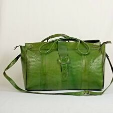 c58686b03b Christmas Gift Leather Overnight Travel Duffle Bag Carry On Djerbian Green  Large