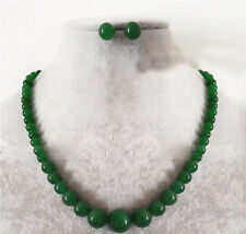 Fashion 6-14mm Natural Green Jade Round Gemstone Beads Necklace Earring Set