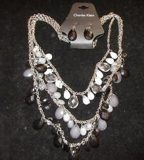 Charles Klein NWT Statement Necklace Earring Set Layered Beaded Black Dangle