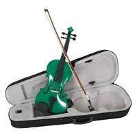 Green Basswood 4/4 Adult Acoustic Right Handed Violin w/ Case Bridge Bow Rosin