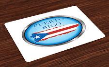 Puerto Rico Salvamantel Set de 4 Unidades Circular con la bandera
