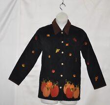 Quacker Factory Harvest Corduroy Jacket w/Button Covers Size S Black