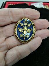 Lovely Vintage LISNER Filigree Blue Enamel Rhinestone Floral Brooch Pin