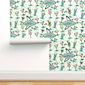 Removable Water-Activated Wallpaper Cocktails Retro 1950S Boomerangs Atomic Era
