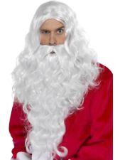 long de luxe Santa PERRUQUE & BARBE ensemble Noël Père Noël déguisement