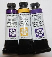 3 Daniel Smith Extra Fine Watercolor Paint:15ml-2 Purples & Burgundy-Ser 2