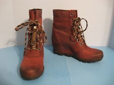 New-with-Tags Women's Sorel Lexie Wedge Lace Up Burgundy Ankle Boots, Size 8.5