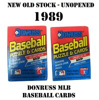 2 PACKAGES OF VINTAGE 1989 DONRUSS MLB BASEBALL PUZZLE AND CARDS UNOPENED NOS