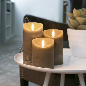 Authentic Real Wax Flame Battery Flickering LED Candle Lights Grey | Indoor
