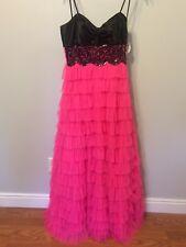prom dress, black, pink, 9/10, Polyester, Deb, Formal, strapless