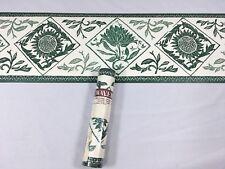 Waverly Wallpaper Border GREEN Branch Leaves Stamp Sunflower Diamond