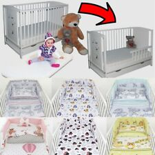 Baby Cot Bed + Drawer + Toddler Barrier + 6-Pcs Bedding 50 Colours + Mattress