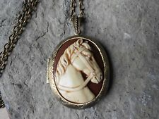 HORSE CAMEO LOCKET (hand painted) - ANTIQUE BRONZE, VINTAGE LOOK, EQUINE, BROWN