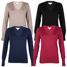 Viscose V Neck Thin Knit Jumpers & Cardigans for Women