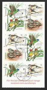 AUSTRALIA 2018 FINCHES BIRDS SELF ADHESIVE BOOKLET OF 10 STAMPS IN FINE USED