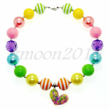 Sweet Rainbow Color Heart Chunky Bead Bubblegum Necklace for Kid Gumball Gift