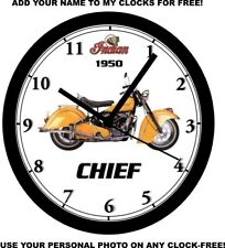 1950 INDIAN CHIEF MOTORCYCLE WALL CLOCK-Free USA Ship